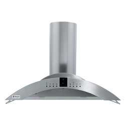 """GE Monogram 36"""" wall-mounted vent hood - Dual-blower island and wall-mounted range hoods have a crescent design that creates a look of elegance. The graceful lines of these stainless steel hoods beautifully complement Monogram cooktops."""