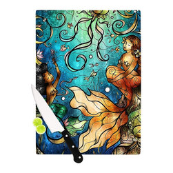 "Kess InHouse - Mandie Manzano ""Under the Sea"" Mermaids Cutting Board (11"" x 7.5"") - These sturdy tempered glass cutting boards will make everything you chop look like a Dutch painting. Perfect the art of cooking with your KESS InHouse unique art cutting board. Go for patterns or painted, either way this non-skid, dishwasher safe cutting board is perfect for preparing any artistic dinner or serving. Cut, chop, serve or frame, all of these unique cutting boards are gorgeous."