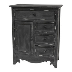 Oriental Furniture - Distressed Matte Black Cabinet - Large cabinet constructed from Philippine mahogany with mitered frame drawer faces and cabinet door. Features one wide drawer, three smaller drawers, and a large cabinet with magnet closure, all with painted black wood pulls. Unique carved apron stylistically balances simple flat top and frame. Matte black finish with white marking accents along edges and top surface make cabinet equally suited to traditional and more modern, eclectic interiors.
