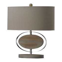Dimond Lighting - D2296-LED Hereford Table Lamp, Bleached Wood with Chrome Finish - Modern Contempo Table Lamp in Bleached Wood with Chrom Finish from the Hereford Collection by Dimond Lighting.