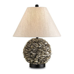 EcoFirstArt - Amalfi Table Lamp - Aww, shucks. Covered in rows and rows of natural oyster shells for one-of-a-kind color and texture, this table lamp takes its cues from the sea, but will look equally at home in spaces from traditional to modern. It's topped with an oatmeal linen shade and sits on a black wood base.