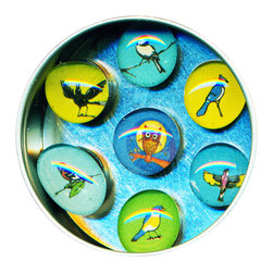 "Birds Glass Gem Magnet Set - Handmade in our studio, our Bird glass gem magnets started with a tiny painting which was reduced to size and reproduced. We use super strong ceramic magnets, so they're not only cute, they're functional. (Unlike those magnets that fall off when you close the refrigerator door!) Each magnet is about 3/4 inch wide, the tin is 2.75"" wide. Set of 7 in a tin. Made in the USA."