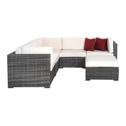 International Home Miami - Atlantic Bellagio 6-Piece Grey Wicker Seating Set with Off-White Cushions - Great quality, stylish design patio sets, made of aluminum and synthetic wicker. Polyester cushion with water repellant treatment. Enjoy your patio with elegance all year round with the wonderful Atlantic outdoor collection.