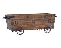 Benzara - Wood Cart A Wood Storage Crate - Wood Cart is a wood storage crate designed in the form of a cart. This wooden storage cart will find the best use in study room.
