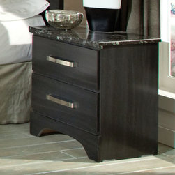 Standard Furniture - Standard Furniture Imperial 2 Drawer Nightstand in Black - Imperial Bedroom is a clean-cut modern bedroom with streamlined styling. It features trim drawer fronts, set close together on clean square case profiles creating a contemporary, uncluttered look. The Mirror and Headboard feature a bold grid motif lattice topped with clean-lined flat crown moldings. Their flat, straightforward framing adds to Imperial's well-groomed character. Dresser, 4-Drawer Chest and 2-Drawer Nightstand are all topped with easy care black veined Marbella tops to coordinate with the suit's smart black finish over emphasized wood graining. Slightly oversized bold bar pulls accent the cases with their eye-catching polished chrome finish. - 64057.  Product features: Belongs to Imperial Collection by Standard Furniture; Wood products with simulated wood grain laminates; French dovetail; Surfaces clean easily with a soft cloth; Bold grid motif lattice topped with clean-lined flat crown moldings; Roller side drawer guides; 2 Drawers; Group may contain some plastic parts; Bold bar pulls in a polished chrome color finish; Black color finish. Product includes: Nightstand (1). 2 Drawer Nightstand in Black belongs to Imperial Collection by Standard Furniture.