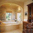 Custom Stone Mosaic - Custom mosaic tub backsplash of flowers, birds, and branches in tumbled stone.