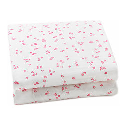 "Auggie - Auggie Flutter Pink Crib Sheet - Sweet mini hearts make Pretty with Pink classic girl with a twist. 100% Cotton, 200 thread count. Made in India. L52"" x W28"" x D8"""