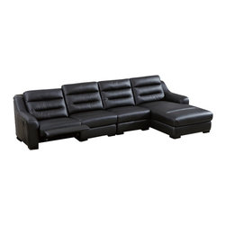 Beverly Hills Furniture Inc. - Ludlow Modern Sectional Sofa, With Right Chaise - Sure to give your living room a unique designer looks, and provide the best comforts as well, the sectional boasts premium top grain upholstery with matching PVC in Black finish, and equipped with Leggett and Platt recliner.