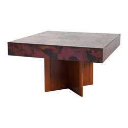 German Hohnert Design Brass Mounted Walnut Square Coffee Table - Ref: T2921