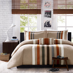 None - Mizone Landon 4-piece Comforter Set - The khaki based Landon comforter set is pieced with gray and orange micro-fiber while an ivory twill tape is striped alongside the others to add dimension and value to the comforter and sham. The stripes are off centered to add a unique and simple design.
