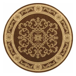 """Safavieh - Indoor/Outdoor Courtyard Round 5'3"""" Round Chocolate - Natural Area Rug - The Courtyard area rug Collection offers an affordable assortment of Indoor/Outdoor stylings. Courtyard features a blend of natural Chocolate - Natural color. Machine Made of Polypropylene the Courtyard Collection is an intriguing compliment to any decor."""