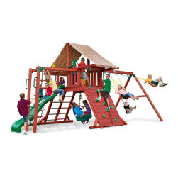 Gorilla Playsets - Sun Climber Swing Set With Sunbrella Brannon Redwood, Ii - Scramble to the top with the Sun Climber II Swing Set with Sunbrella Brannon Redwood Canopy by Gorilla Playsets in your backyard! This swing set was designed to keep kids busy with monkey bars, rock wall and a rope ladder, all while building strength and coordination. The play deck is protected with an authentic Sunbrella canopy. This premium cedar wood playset is pre-cut, pre-sanded, pre-stained and ready to assemble in your backyard over the weekend. The entire playset is finished in a beautiful redwood stain.  Gorilla Playsets' cedar naturally resists rot, decay, and insect damage.