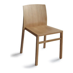 OSIDEA - Osidea Hanna Chair, Oak - This hot little dining chair from Italian designer Antonio Basile looks good in red, but is also available in walnut and maple. It is lighter than it looks because of the bent plywood construction in birch and ash hardwoods.