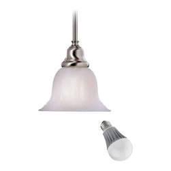 Design Classics Lighting - Mini-Pendant with Alabaster Glass and LED Light Bulb - 649-09 8W LED - This mini-pendant features an alabaster glass shade and a sleek, satin-nickel finish, which makes it look great in a kitchen or dining area featuring an energy savings LED light bulb. The LED light bulb is based on a breakthrough and patented technology to last 6 times longer than compact fluorescent bulbs and 35 times longer than an incandescent. Features a medium base with white diffuser and vented heat sink. Includes one 6-inch and three 12-inch stem segments with an integrated sloped ceiling adapter. Takes (1) 9.5-watt LED A19 bulb(s). Bulb(s) included. Dry location rated.