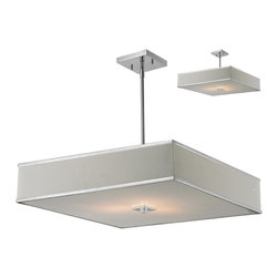 Z-Lite - Rego Chrome 3-light Pendant Fixture - A white linen rectangular shade defines this elegant pendant,as does its complimentary chrome hardware. This fixture comes with an acrylic diffuser to soften the light and hardware to hang as a semi-flush mount.