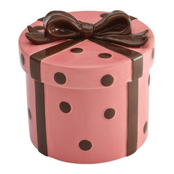 Cake Boss - Cake Boss Pink Gift Stoneware Cookie Jar - 59740 - Shop for Cookie Jars from Hayneedle.com! Fill the Cake Boss Serveware Stoneware Cookie Jar - Pink Gift with your home baked treats for a delightful gift. Pretty and contemporary this stoneware cookie jar is hand-painted in pink with chocolate brown dots and bow. It's even dishwasher-safe!About Cake Boss Baking Buddy Valastro is a fourth generation baker runs his family s business Carlo s Bakery and is the Cake Boss on TLC. Inspired by Buddy s reality baking series Cake Boss now offers a comprehensive line of bakeware cake decorating tools and kitchen accessories. Designed to make baking fun these high-quality baking and decorating products let you bake like the boss.