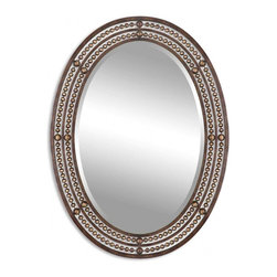 Uttermost - Matney Distressed Oil Rubbed Bronze Oval Mirror - Hand forged metal frame with a distressed, oil rubbed bronze finish with antiqued gold highlights. Mirror is beveled.
