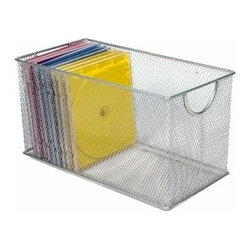 Design Ideas - Mesh Zip Box Organizer - Silver - Your desk will become an organization station with our silver mesh Zip Box Organizer.