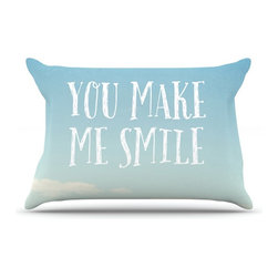 """Kess InHouse - Susannah Tucker """"You Make Me Smile"""" Beach Sky Pillow Case, Standard (30"""" x 20"""") - This pillowcase, is just as bunny soft as the Kess InHouse duvet. It's made of microfiber velvety fleece. This machine washable fleece pillow case is the perfect accent to any duvet. Be your Bed's Curator."""