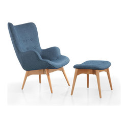 Paddington Deux Lounge Set in Navy - Sit around, stylishly, with the Paddington Deux Lounge Set. Form and comfort meet in the mid-century modern design and luxurious styling. Upholstered in fabric and supported by ash wood legs, this arm chair makes for a cozy, cool sitting experience in any space.