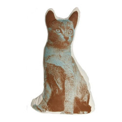 Fauna - Cat Pillow - Brown And Blue On Natural - Hello, kitty! With his poised bearing and enigmatic expression, this charming feline — printed on 100 percent cotton broadcloth — adds elegance to your favorite setting. The bonus? He doesn't shed!