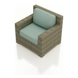 Forever Patio - Hampton Modern Wicker Club Chair, Heather Wicker and Spa Cushions - The Forever Patio Hampton Rattan Outdoor Club Chair with Turquoise Sunbrella cushions (SKU FP-HAM-CC-HT-SP) provides roomy seating for 1, with deep seats and wide, modern armrests. The UV-protected, heather wicker sports a flat woven design, creating a contemporary look with clean lines. Each strand of this outdoor wicker is made from High-Density Polyethylene (HDPE) and is infused with its rich color and UV-inhibitors that prevent cracking, chipping and fading ordinarily caused by sunlight. This outdoor club chair is supported by thick-gauged, powder-coated aluminum frames that make it more durable than natural rattan. This chair includes fade- and mildew-resistant Sunbrella cushions for added comfort in your outdoor space.