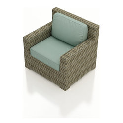 Hampton Modern Wicker Club Chair, Spa Cushions