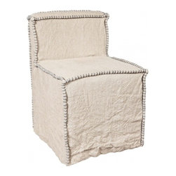 EcoFirstArt - Linen Slip Covered Side Chair - Slip this side chair into nearly any room to whip it into shape. It manages to look both modern and timeless at the same time, slipcovered in weighty, natural linen with colorful whipstitching around the edges. Its slipper shape makes it perfect for extra seating in your living room, or at a vanity or desk.
