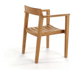 Westminster Teak Furniture - Horizon Teak Armchair - Great Dane! Hinting at Danish modern design, this solid teak chair really stacks up. Perfect for your outdoor soirees, it has a gently curved back and beautifully sculpted armrests for firm and comfortable support.