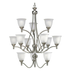 "Progress - Progress-P4510-81-Renovations - Twelve Light 3-Tier Chandelier - General - Etched glass shades - P4509 is a 9 lamp two tier (6/3) unit  - P4510 is a 12 lamp three tier (3/6/3) unit - 10 feet of 9 gauge matching chainsupplied - Steel construction - Hand painted forged bronze, or platedantique nickel finish - Companion wall bracket, chandeliers,sconce, hall & foyer, ceiling fan and closeto ceiling unitsMounting - Chain hung ceiling - Canopy covers a standard recessed 4""octagonal outlet box - Mounting strap for outlet box included - Threaded socket ring secures glassElectrical - 15 feet of wire - Ceramic medium based sockets - Pre-wiredAntique Nickel Finish with Etched Ribbed Glass  Lamp Quantity: 12  Lamp Type: Medium Base  Wattage: 100  UL Certified  Wire Length: 180.00  Chain Length: 120.00  Material: Steel"