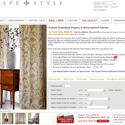 Custom Couture Drapery in Schumacher by DrapeStyle - What could be more luxurious than custom drapery by DrapeStyle® made with fabrics by Schumacher®. We are pleased to offer an incredible selection of Schumacher Fabrics including the Hot House Flowers and Imperial Trellis Collections for a limited time and, of course each set of drapery will be made to order in our California Studio.