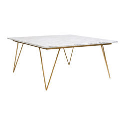 Worlds Away - Worlds Away Hairpin Leg Gold Leaf Coffee Table with White Marble Top NEAL GW - Worlds Away Hairpin Leg Gold Leaf Coffee Table�with White Marble Top NEAL GW