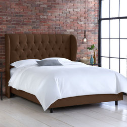 "Skyline Furniture - Wingback Bed - This bed boasts diamond handcrafted tufts. Its unique style headboard is inset by two upholstered wings. Its sure to add a modern look to any bedroom. Includes metal bed frame along with upholstered rails. Requires box spring and mattress. Features: -Spot clean only.-Made in the USA.-Distressed: No.-Collection: Wingback.-Country of Manufacture: United States.-Powder Coated Finish: No.-Gloss Finish: No.-Hardware Finish: Black metal.-Frame Material: Pine wood.-Solid Wood Construction: No.-Upholstered: Yes -Upholstered Section: Headboard, siderails.-Upholstery Material: Linen.-Upholstery Color: Tied to Finish.-Upholstery Fill Material: Polyurethane foam.-Tufted: Yes..-Hardware Material: Metal.-Non Toxic: No.-Scratch Resistant: No.-Mattress Included: No.-Box Spring Required: Yes -Boxspring Included: No..-Headboard Storage: No.-Footboard Storage: No.-Underbed Storage: No.-Slats Required: No.-Center Support Legs: Yes.-Wingback: Yes.-Trundle Bed Included: No.-Attached Nightstand: No.-Built in Outlets: No.-Lighted Headboard: No.-Finished Back: No.-Reclaimed Wood: No.-Bed Rails Included: Yes.-Eco-Friendly: No.-Recycled Content: No.-Wood Moldings: No.-Canopy Frame: No.-Hidden Storage: No.-Jewelry Compartment: No.-Weight Capacity: 500 lbs.-Swatch Available: Yes.-Commercial Use: No.-Product Care: Spot clean only.Specifications: -FSC Certified: No.-EPP Compliant: No.-CPSIA or CPSC Compliant: Yes.-CARB Compliant: Yes.-JPMA Certified: No.-ASTM Certified: No.-ISTA 3A Certified: Yes.-PEFC Certified: No.-General Conformity Certificate: Yes.-Green Guard Certified : No.Dimensions: -Bottom of Side Rail to Floor: 4"".-Base of Headboard to Floor: 24"".-Overall Height - Top to Bottom (Size: California King): 54.5"".-Overall Width - Side to Side (Size: California King): 77.5"".-Overall Depth - Front to Back (Size: California King): 89"".-Overall Product Weight (Size: California King): 116 lbs.-Headboard Dimensions Height (Size: California King): 30.5"".-Headboard Width Side to Side (Size: California King): 77.5"".-Headboard Depth Front to Back (Size: California King): 14"".-Overall Height - Top to Bottom (Size: Full): 54.5"".-Overall Width - Side to Side (Size: Full): 59.5"".-Overall Depth - Front to Back (Size: Full): 80"".-Overall Product Weight (Size: Full): 106 lbs.-Headboard Dimensions Height (Size: Full): 30.5"".-Headboard Width Side to Side (Size: Full): 59.5"".-Headboard Depth Front to Back (Size: Full): 14"".-Overall Height - Top to Bottom (Size: King): 54.5"".-Overall Width - Side to Side (Size: King): 81.5"".-Overall Depth - Front to Back (Size: King): 85"".-Overall Product Weight (Size: King): 122 lbs.-Headboard Dimensions Height (Size: King): 30.5"".-Headboard Width Side to Side (Size: King): 81.5"".-Headboard Depth Front to Back (Size: King): 14"".-Overall Height - Top to Bottom (Size: Queen): 54.5"".-Overall Width - Side to Side (Size: Queen): 65.5"".-Overall Depth - Front to Back (Size: Queen): 85"".-Overall Product Weight (Size: Queen): 110 lbs.-Headboard Dimensions Height (Size: Queen): 30.5"".-Headboard Width Side to Side (Size: Queen): 65.5"".-Headboard Depth Front to Back (Size: Queen): 14"".Assembly: -Assembly Required: Yes.-Tools Needed: Allen wrench, wrench.-Additional Parts Required: No."