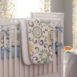 Spa Pom Pon Play Crib Comforter - Front of comforter features Spa Pom Pon Play, backed with Cream Matelesse, and edged with Solid Robin's Egg Blue trim.