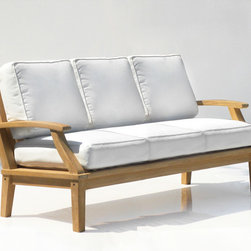 St. Barts Deep Seating Teak Sofa with Cushions - Perfect for your sunroom or outside deck, the St. Barts Sofa features a beautifully hand-carved teak wood frame and plush cushions made from outdoor fabric. This sofa will turn your space into a relaxing haven and become a favorite place to lounge season after season.
