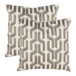 Safavieh Home Furniture - Dawson 18-Inch Silver/Blue Decorative Pillows, Set of 2 - -Adorn your bed, sofa, or favorite reading chair with a refreshing geometric design from Safavieh. This eye-catching pillow will marry perfectly with your existing d�cor, adding lasting style for years to come.  - Please note this item has a 30-day manufacturer's limited warranty that covers product defects. Inspect your purchase upon delivery and notify us immediately with any concerns. Safavieh Home Furniture - PIL893A-1818-SET2