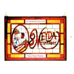 Meyda - 21W x 15H Meyda Tiffany Window - Color theme: Bai Flame HA Light Blue Grey CA Light Peach 59 Flame