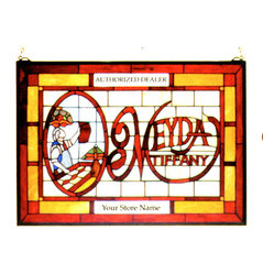 Meyda - 21W X 15H Meyda Tiffany Window - Color Theme: Bai Flame Ha Lt Blue Gre