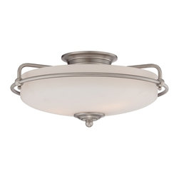 Quoizel - Quoizel QZ-GF1617AN - This understated style provides a stylish, soft modern look for most any room.  The etched shade is painted white inside, diffusing the light evenly and illuminating your home with a soothing glow.  It is held in place by softly curved arms and is available in three finishes: Antique Nickel, Polished Chrome and Palladian Bronze