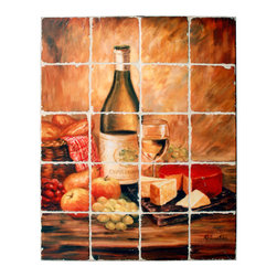 "Tile Art Gallery - Splash Decor Tile Mural - Rosanne Kaloustian - Tuscanny Table with Cheese - Splash Decor allows you to interchange mural scenes with just a pull and lift motion. Now you can change scenes for holidays, seasons, or just whenever you feel like redecorating. This tumbled marble stone tile mural titled ""Tuscanny Table with Cheese"" is depicted by artist Rosanne Kaloustian and is a beautiful compliment to any kitchen or bar tiled backsplash."