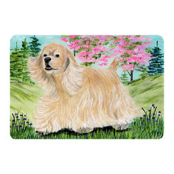 Caroline's Treasures - Cocker Spaniel Kitchen or Bath Mat 20 x 30 - Kitchen or Bath Comfort Floor Mat This mat is 20 inch by 30 inch. Comfort Mat / Carpet / Rug that is Made and Printed in the USA. A foam cushion is attached to the bottom of the mat for comfort when standing. The mat has been permanently dyed for moderate traffic. Durable and fade resistant. The back of the mat is rubber backed to keep the mat from slipping on a smooth floor. Use pressure and water from garden hose or power washer to clean the mat. Vacuuming only with the hard wood floor setting, as to not pull up the knap of the felt. Avoid soap or cleaner that produces suds when cleaning. It will be difficult to get the suds out of the mat.