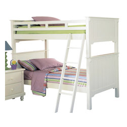 Homelegance - Homelegance Pottery Full Bunk Bed in White - The Pottery collection by Homelegance is perfect for that cottage look. styled for your child this bunk bed features an old-world charm finished in white sand with beautifully designed paneling. This bed can be separated into two beds by using the taller-pieces as headboards and the shorter-pieces as individual footboards giving each bed an equalized look. Made of solid hardwoods this-Piece is sure to meet your child's needs. Mattresses not included.