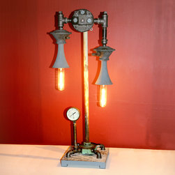 Air Horn Steampunk Lamp - A recycled found object lamp constructed from vintage truck or marine air horns made by Grover Products Company of Los Angeles, CA. Other steampunk components include a verdigris brass base, pipe fittings and a reclaimed 3000 psi pressure gauge. Height is approx 30 inches.