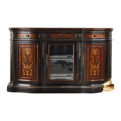 """Hooker Furniture - Veneer 69.75"""" Entertainment Console - White glove, in-home delivery included!  Crafted from hardwood solids, cherry, rosewood, maple and sapele veneer and glass, this entertainment console brings storage with style.   Bottom shelf space (center opening): 19 1/2"""" w x 19"""" d x 11 1/2"""" h  Bottom shelf space (left and right openings): 21"""" w x 15 1/4"""" d x 11 1/2"""" h  Center drawer: 18"""" w x 17 1/4"""" d x 3 1/2"""" h  Side drawers: 15"""" w x 15"""" d x 3"""" h  Top shelf space (center opening): 19 1/2"""" w x 19"""" d x 13 1/4"""" h  Top shelf space (left and right openings): 21"""" w x 15 1/4"""" d x 13 1/4"""" h"""