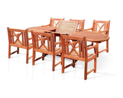 Vifah - 7-Piece Outdoor Drop Leaf Patio Dining Set with 6 Chairs - This dining set is made from premium grade Eucalyptus Gradis hardwood, grown in 100% well managed forests in Brazil, certified by the FSC (Forest Stewardship Council). The biggest attribute of Eucalyptus is undoubtedly the strength of the timber. It is renowned for its excellent resistance to every day wear and tear. It is extremely durable and tightly grained to produce a desirable density. It remains unaffected by all variations in weather, especially its resistance to damp conditions makes itself extremely competent at combating insect attacks and decay.