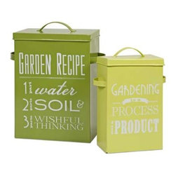 Sunnie Bulb Boxes - Set of 2 - This set of two metal bulb boxes with scoops are a fabulous find for any gardening guru.