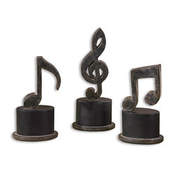 Uttermost - Music Notes Metal Figurines, Set of 3 - These metal musical notes will have you humming along in no time. Hand-forged and finished in aged black with a tan glaze, they'll be a great addition to your sideboard or if you're lucky enough, your piano.