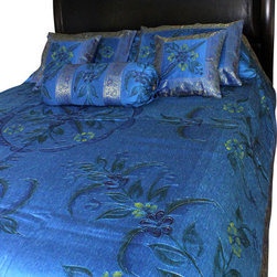 Banarsi Designs - Hand Painted Floral 7-Piece Duvet Cover Set, Ocean Blue, King - Our decorative and unique 7-piece hand painted floral duvet cover set from Banarsi Designs includes: 1 duvet cover, 2 square pillow covers, 2 rectangular pillow covers, and 2 bolster pillow covers.