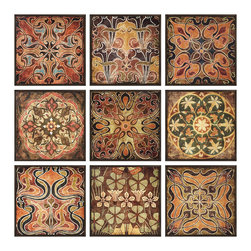 Imax Corp - Tuscan Wall Panels - Set of 9 - This colorful and warm set of 9 wall panels, each with its own intricate print resembling patterns from Tuscan tile, has dark stained wood frames finishing off the edges of each piece.