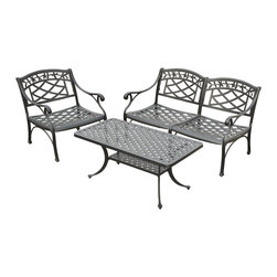 Crosley - Sedona 3 Piece Cast Aluminum Outdoor Conversation Seating Set - Chair Dimensions: 26W x 29.5D x 31H inches.